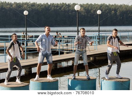 Polish Disco Band Jurad Working During Shooting Music Video Clip