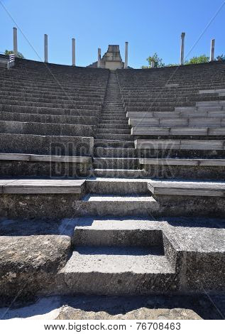 The Roman Theatre In The Extensive Roman Ruins At Vaison-la-romaine, Provence, France.
