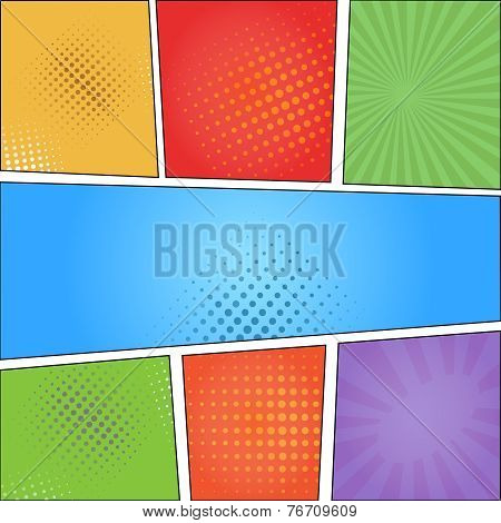Comics pop art style blank layout template with clouds beams and dots pattern background  illustrati