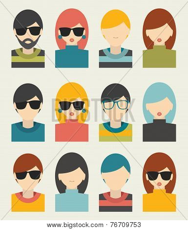 Men, woman portrait avatars profile pictures flat icons. Vector illustration.