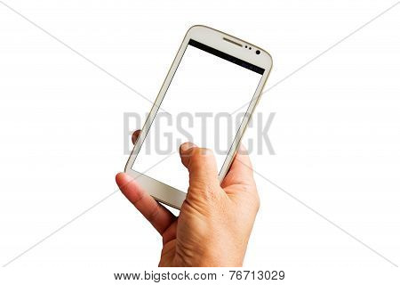 Hand With White Smartphone