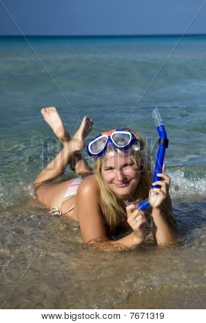 Young Happy Beautiful Summer Diving Woman In Blue S