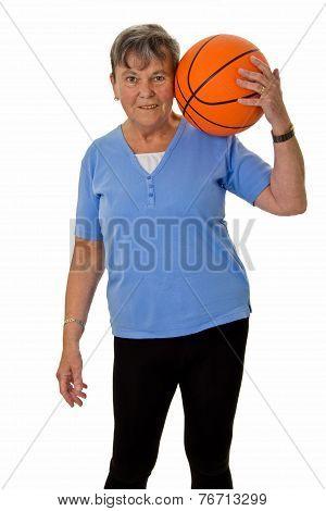 Senior Woman With Baskektball