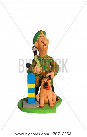 Statuette Of Border Guard With A Dog