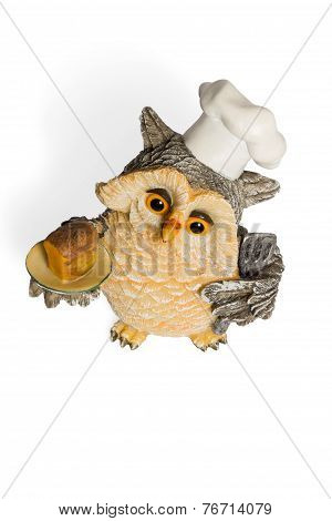 Owl Figurine In Nightcap With Bread On A Tray