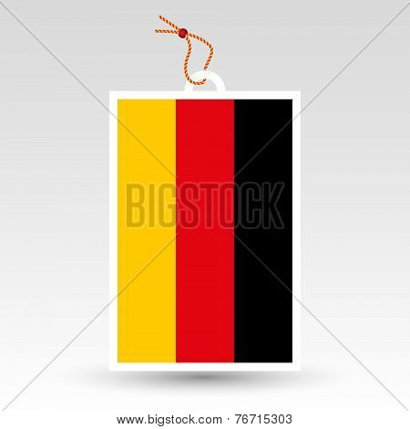 Vector Simple German Price Tag - Symbol Of Made In Germany - Label With String
