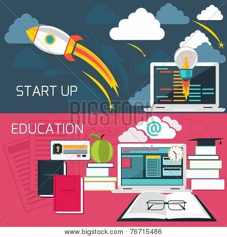 Concept for business start up and online education