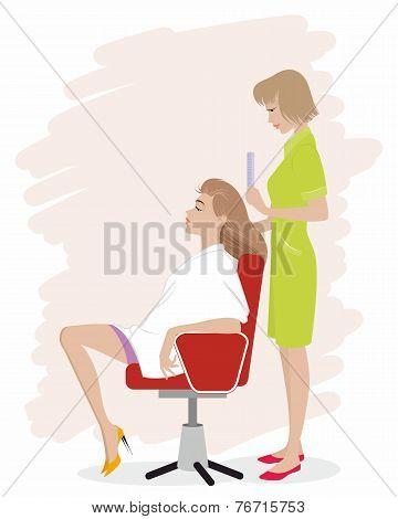 Girl In Hairdressing Salon