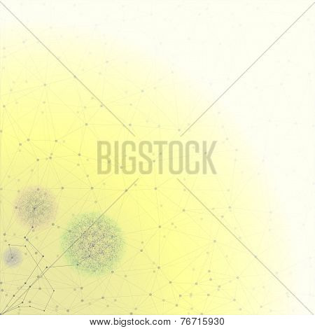 Flower in the shape of molecular structure, yellow background for communication, vector illustration