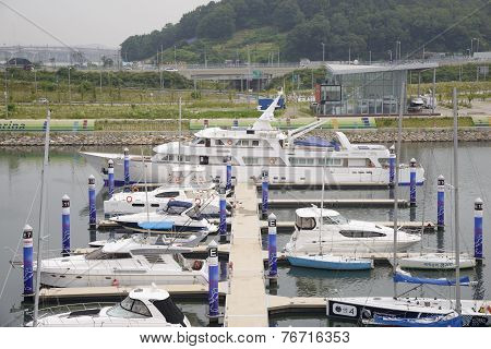 Gimpo, Korea - July 5, 2014: Ara Marina Yachts Dock In Gyeongin Ara Waterway