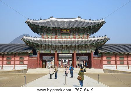 Seoul, Korea - January 06, 2014: View Of Heungnyemun In Gyeongbok Palace, Korea