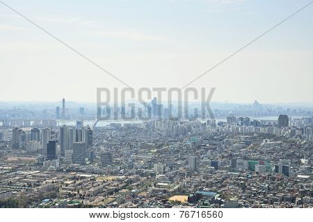 Seoul, Korea - April 04, 2014: View Of Mapo And Yeouido From Namsan In Seoul
