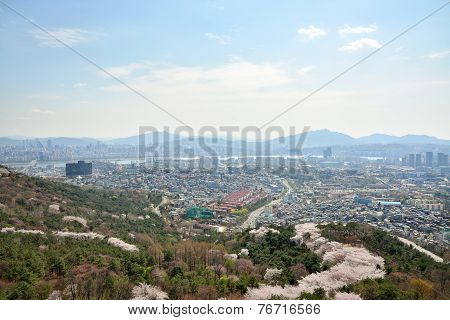 Seoul, Korea - April 04, 2014: View Of Itaewon And Seocho From Namsan In Seoul