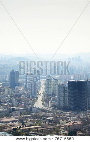 Seoul, Korea - April 04, 2014: View Of Yongsan And Dongjak From Namsan In Seoul