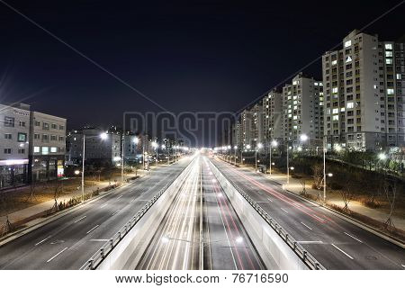 Gimpo, Korea - April 05, 2014: Night View Of The Stretch Of The Main Road In Gimpo City