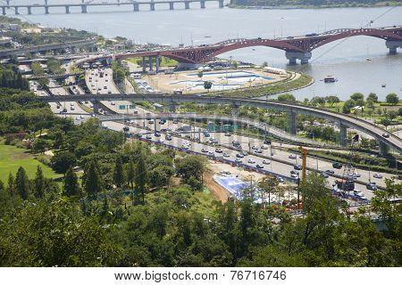 Seoul, Korea - August 30, 2014: Gangbyeonbuk Expressway In Seoul