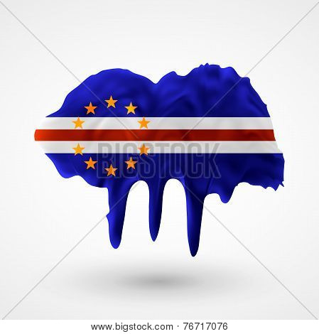 Flag of Cape Verde painted colors