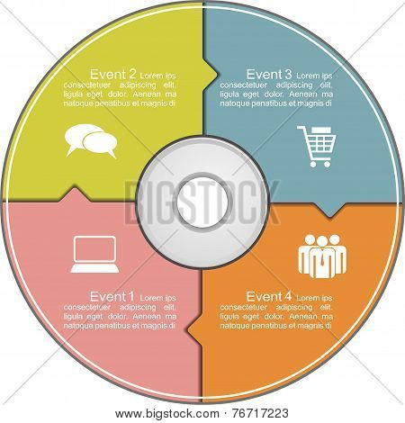 Infographics template with compact disk. Vector