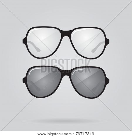 Set of sunglasses and eyeglasses. Vector