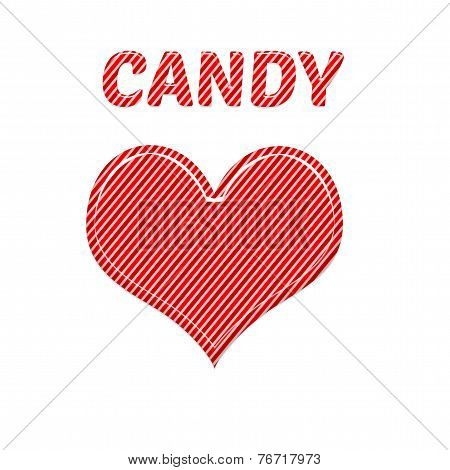 I Love Candy Cane Red And White Pink Colours