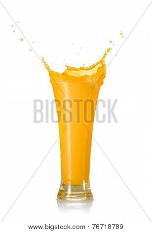 Mango Juice Splash In A Glass
