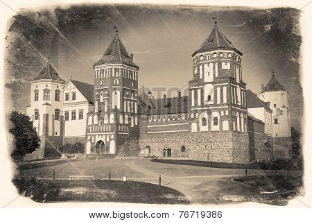 Vintage Retro Stylized Travel Image Of  Belorussian Tourist Landmark Attraction Mir Castle.
