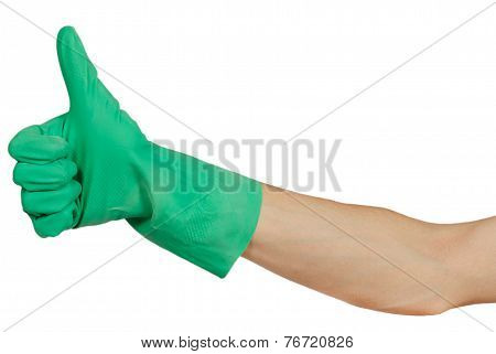 Hand In Green Rubber Glove Show Thumbs Up