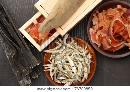 typical dried foods for Japanese soup stock