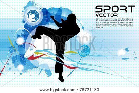 Karate warrior, vector illustartion