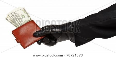 Thief In Black Suit Holding A Brown Leather Purse With Dollars