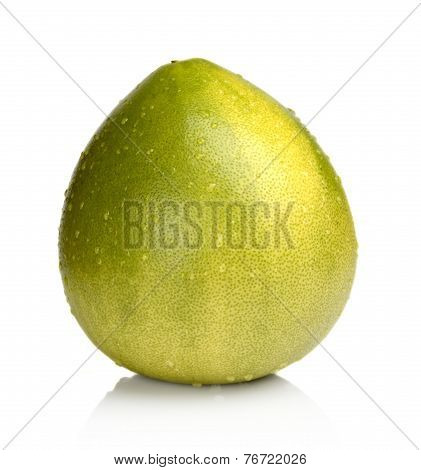 Wet Pomelo, Chinese Grapefruit With Drop Waters Isolated On White