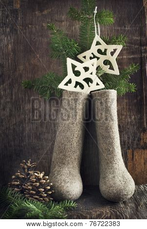 Christmas Decoration With Felt Boots, Fir's Branches And Christmas Ornament.