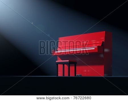 Red Piano On Stage