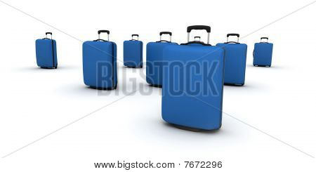 Blue Trolley Suitcases