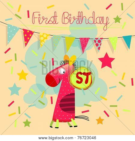 First birthday. Vector happy birthday greeting card, birthday invitation. Anniversary celebration greeting card.