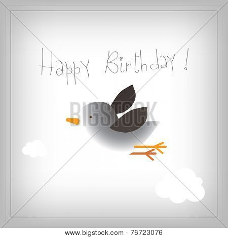 Vector happy birthday children greeting card, birthday invitation. Kids Anniversary celebration greeting card.