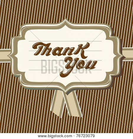 Thank you card. Vector typography thank you message.