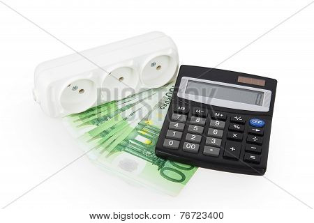 Power Socket Money And A Calculator