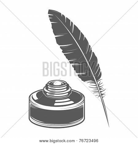 Feather Pen And Ink Isolated On White Background. Calligraphic Letter. Monochromatic Line Art. Retro