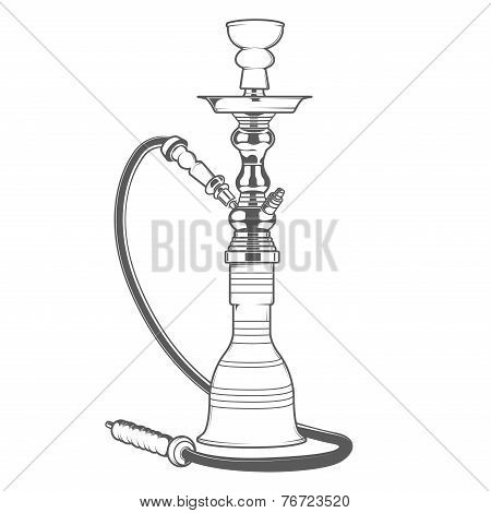 Shisha With Pipe Isolated On White Background. Monochromatic Line Art. Retro Design. Vector Illustra