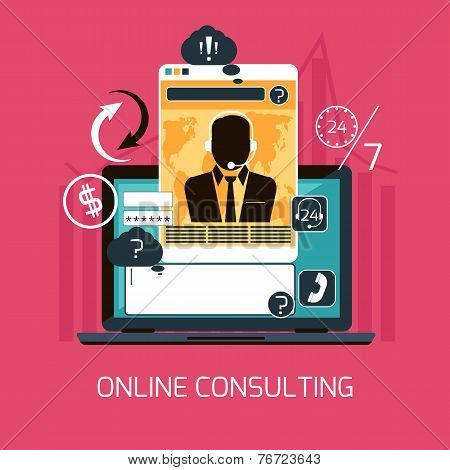 Customer online consulting service concept