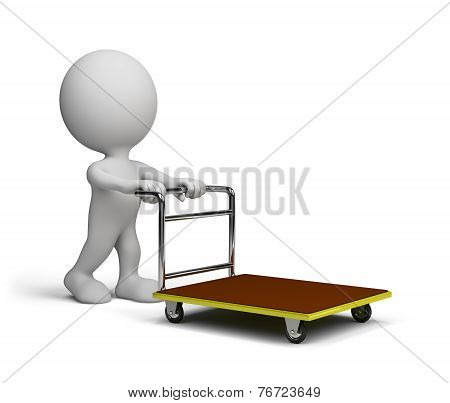 Man Pushes A Trolley