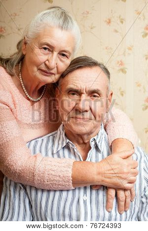 Portrait Of Smiling Elderly Couple Old People Holding Hands. Senior Man, Woman.