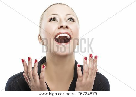 Surprised Happy Young Caucasian Woman Looking Sideways In Excitement. Isolated Over White Background