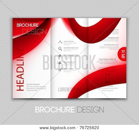 Abstract red fractal wave template brochure design