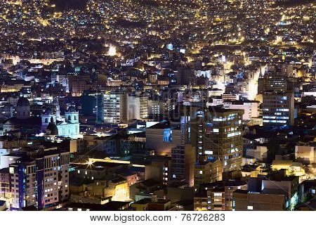 La Paz in Bolivia at Night