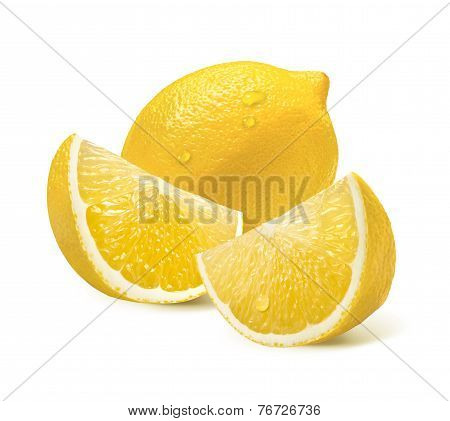 Whole Lemon And Two Quarter Slices Isolated On White