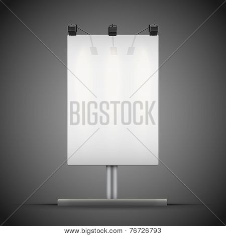 Empty mockup billboard with spotlights and illuminated at night. Vector Illustration.