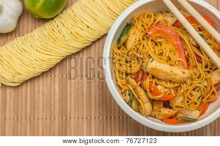 Chinese Chow Mein With Chicken And Bok Choy