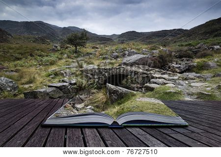 Landscape Of Path Up Mountainside On Summer Morning Conceptual Book Image